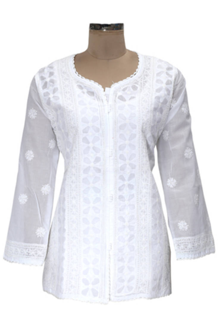 Buy ada hand embroidered large white cotton lucknowi
