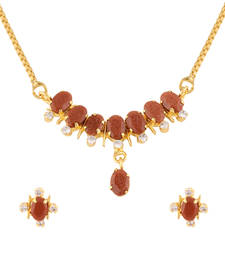 Buy Brown 1 Pendant Set With Chain Pendant online