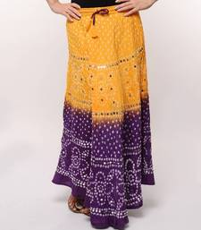 Buy Yellow Purple Cotton Bandhej Skirt skirt online