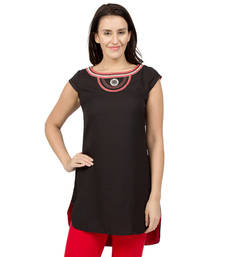 Buy Black embroidered Rayon tunics tunic online
