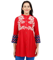 Buy Red embroidered Rayon tunics tunic online