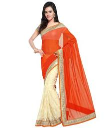 Buy Orange and  cream plain net saree with blouse brasso-saree online