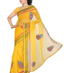 Buy ISHIN Tissue Net Yellow saree ISHI-9 tissue-saree online