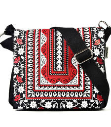 Buy Red Aztec printed and embroidered  flap red canvas  sling sling-bag online