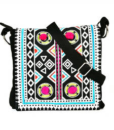 Buy Blue Aztec printed and embroidered  flap red canvas  sling sling-bag online