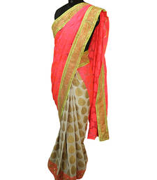 Buy Rose print pink and white gold Half and Half Saree chanderi-saree online