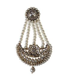 Buy Muslim bridal kundan pearl cz gold plated jhoomar passa hair accessories hair-accessory online