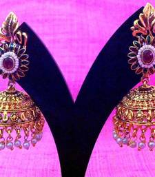 Buy Ethnic temple style maroon green jhumka with small pearls at the base v657 gifts-for-wife online