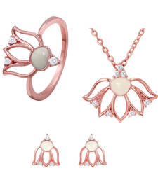 Buy White Lotus Flower Rose Gold Rose Gold Plated Pendant Set with Ring for Women jewellery-combo online