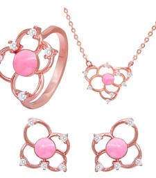 Buy Pink Flower Rose Gold Plated Pendant Set with Ring for Women jewellery-combo online