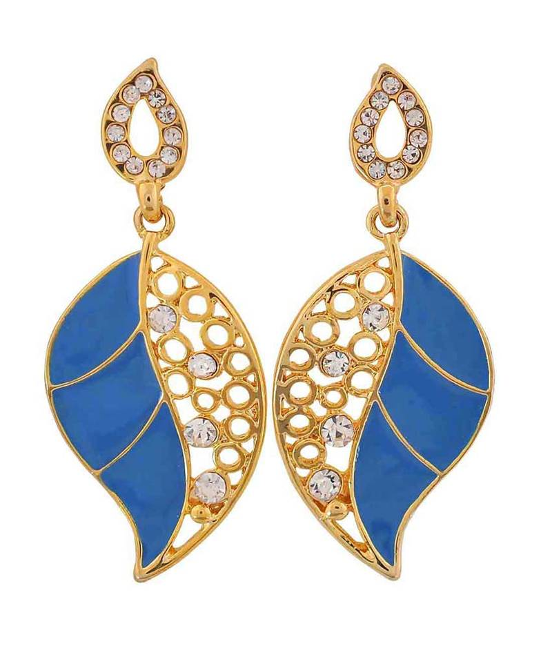 buy plush blue gold indian ethnic college drop earrings