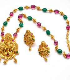 Buy Anvi's lakshmi (temple jewellery) pendent and earrings with rubies and emeralds chain Necklace online