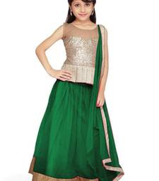 Buy New Arrvial Kids Party Wear Soft Net Dark Green Color Lehenga Choli kids-lehenga-choli online