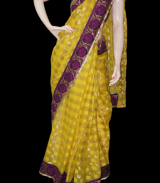 Buy Yellow floral cotton-saree online