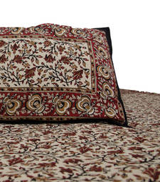 Buy Maroon Hand Block Printed double bedsheet Bedsheet With 2 Pillow Covers bed-sheet online