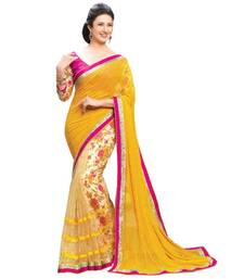 Buy yellow printed net saree with blouse net-saree online