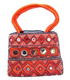 Buy Orange color silk bag  handbag online