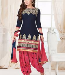 Buy Navy Blue Cotton embroidered unstitched salwar with dupatta punjabi-suit online
