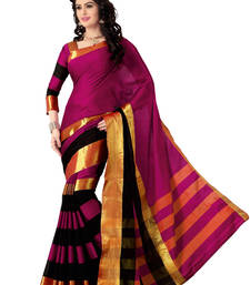 Buy Pink and Black plain cotton Saree cotton-saree online