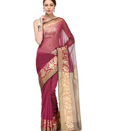 Buy rani pink woven super net saree with blouse supernet-saree online
