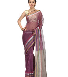 Buy magenta woven super net saree with blouse banarasi-saree online