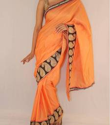 Buy Orange Silk saree with black stone and pita work border in kairi pattern silk-saree online