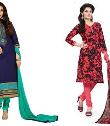 Buy Blue and red embroidered and printed cotton unstitched salwar with dupatta salwar-combo online