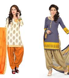 Buy Cream and  blue embroidered and printed jute and polycotton unstitched salwar with dupatta salwar-combo online