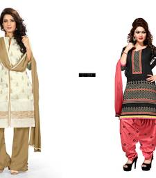 Buy Cream and black embroidered chanderi unstitched salwar with dupatta salwar-combo online