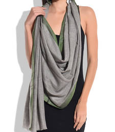 Buy Grey Pure Wool Shawl with Green Silk Border shawl online