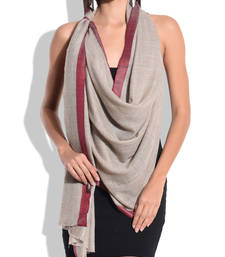 Buy Grey Pure Wool Shawl with Maroon Silk Border shawl online