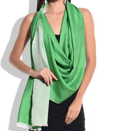 Buy Reversible Green and White Pure Wool Shawl shawl online