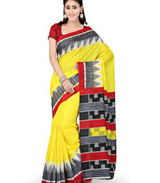 Buy Yellow printed art silk saree with blouse printed-saree online