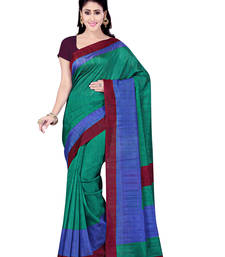 Buy Green printed art silk saree with blouse bhagalpuri-silk-saree online