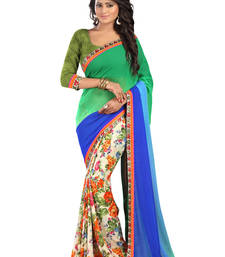 Buy Green Printed Fancy And exclusive Saree With Blouse printed-saree online