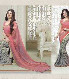 Peach and grey printed georgette saree with blouse with blouse shop online