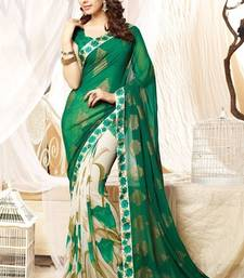 Buy Green and cream printed georgette saree with blouse with blouse georgette-saree online