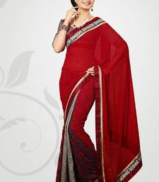 Buy Gorgeous red chiffon saree engineers-day-gift online