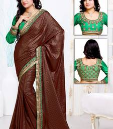 Buy Rust embroidered satin saree with blouses saree with blouse satin-saree online