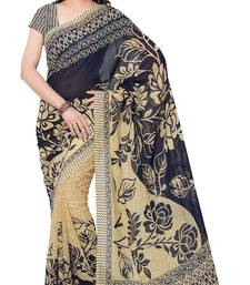 Blue Printed Faux Georgette Sarees