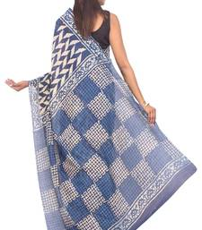 Buy Blue plain cotton saree with blouse cotton-saree online