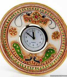 Marvel In Marble - Gold Embossed Round Alarm Clock With Kundan Work_53 shop online