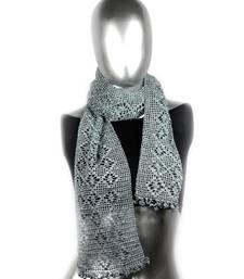Buy Butterfly Pattern Crochet Stole | Dark Grey stole-and-dupatta online