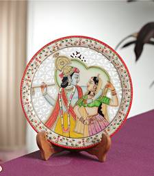 Buy Carved Marble Plate with RADHA KRISHNA decorative-plate online