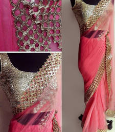 Buy Peach embroidred  saree with blouse designer-embroidered-saree online