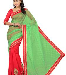 Buy multicolor plain faux chiffon saree with blouse chiffon-saree online