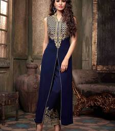 Buy Blue georgette embroidered semi stitiched salwar with dupatta party-wear-salwar-kameez online
