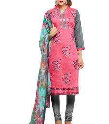 Buy Pink cotton embroidered semi stitiched salwar with dupatta cotton-salwar-kameez online