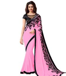 Buy pink embroidered faux georgette saree with blouse party-wear-saree online
