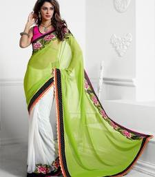 Buy Winter green designer saree birthday-gift online